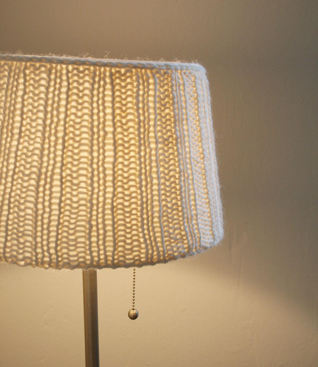 Nahaufnahme Lampenschirm mit Strick