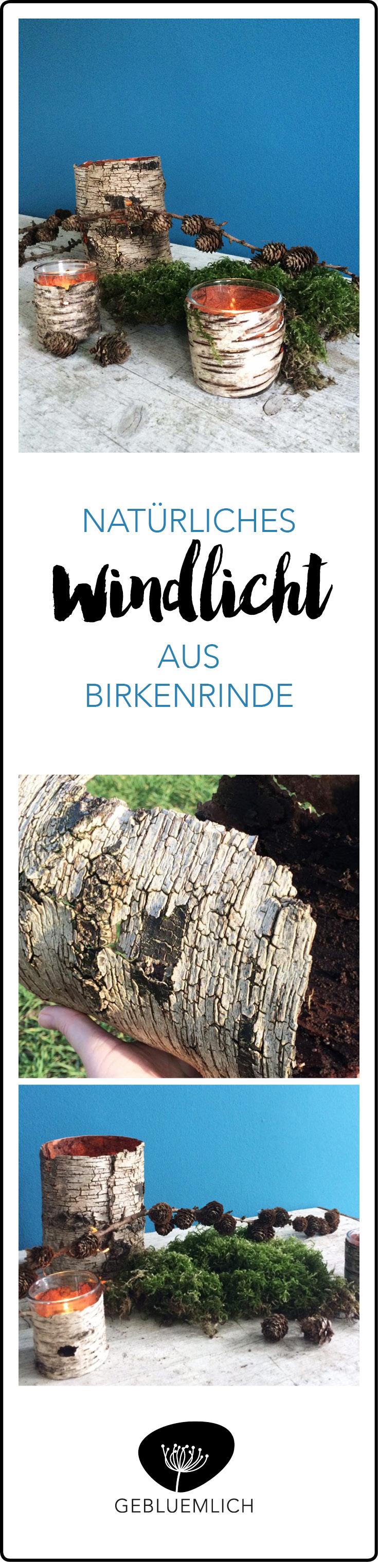 Natürliches Windlicht aus Birkenrinde