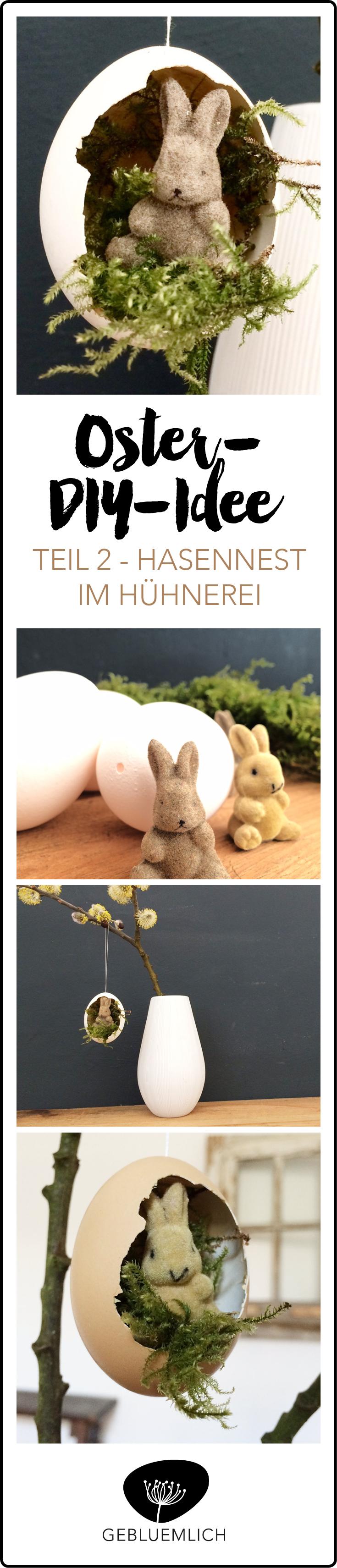 Oster-DIY-Idee Hasennest im Hühnerei