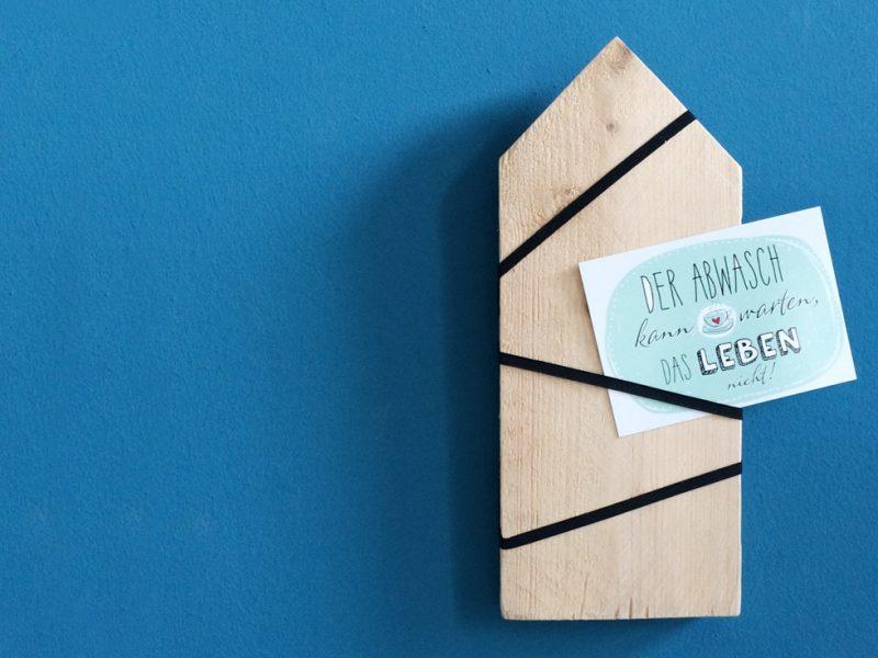 Kartenhalter-Haus mit Schlüpfergummi