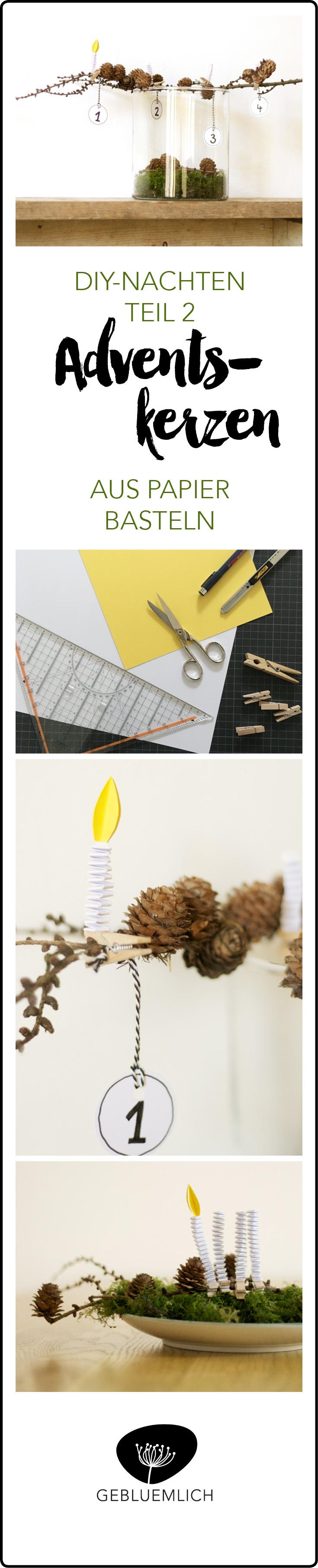 Adventskerzen aus Papier basteln
