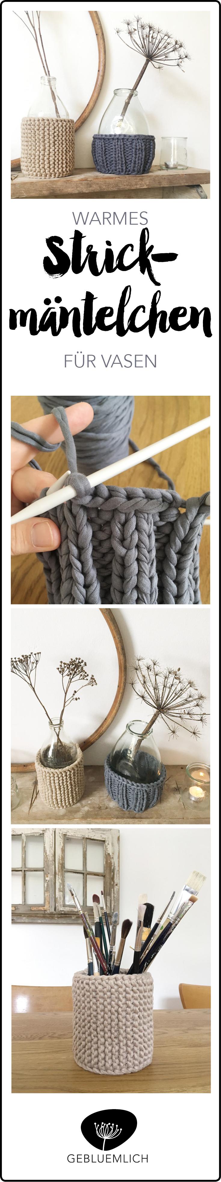 Pinterest Warmes Strickmäntelchen für Vasen